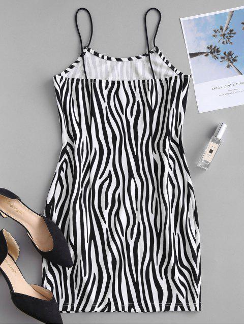 ZAFUL Robe Austée Zèbre Imprimé à Bretelle - Noir M Mobile