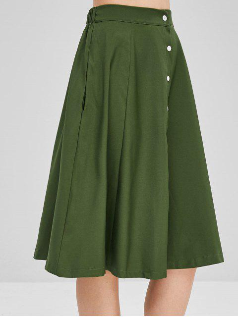 chic Button Up A Line Casual Skirt - ARMY GREEN L Mobile