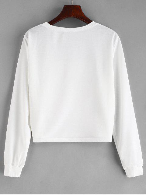new Embellished Heel Graphic Cropped Sweatshirt - WHITE S Mobile