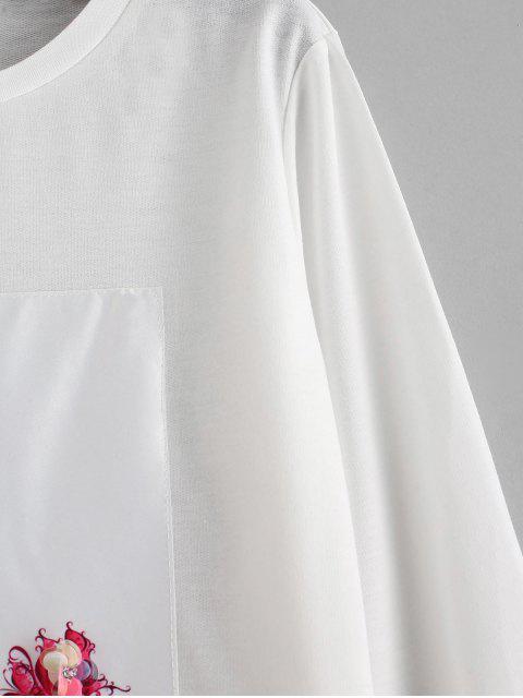 fancy Embellished Heel Graphic Cropped Sweatshirt - WHITE M Mobile