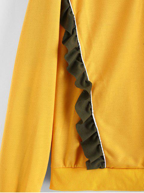 fashion Ruffled Quarter Zip  Pullover Sweatshirt - BEE YELLOW L Mobile
