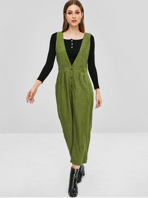women's Sleeveless Half Buttoned Wide Leg Overalls - SEAWEED GREEN XL Mobile