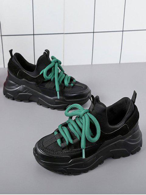 lady Color Block Platform Sport Sneakers - BLACK EU 39 Mobile