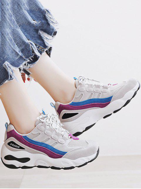 buy Color Block Mesh Trim Platform Sneakers - PALE VIOLET RED EU 40 Mobile