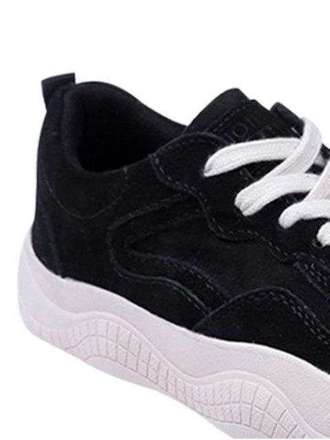 sale Fur Lined Lacing Casual Sneakers - BLACK EU 37 Mobile