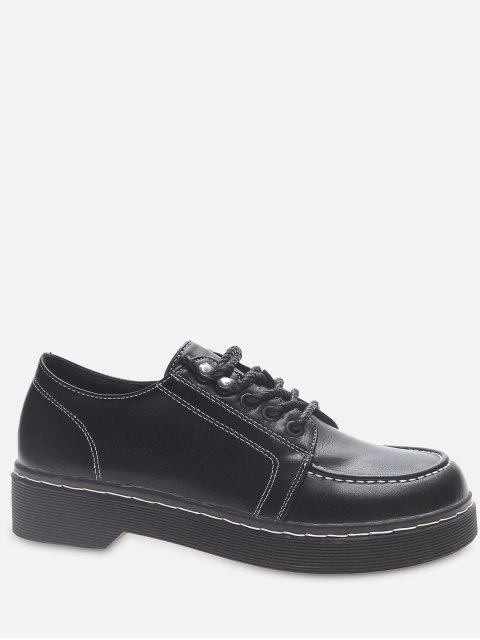 Moc Toe Faux Leather Lacing Shoes - Schwarz EU 38 Mobile