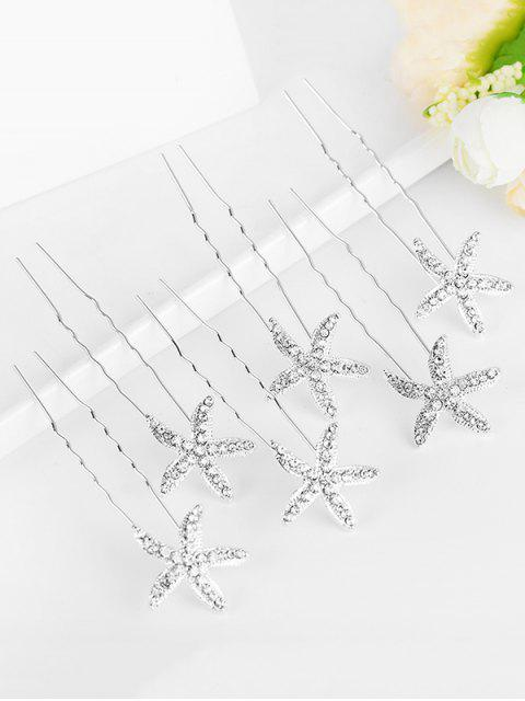 women Star Shape Rhinestone Hairpins - WHITE  Mobile