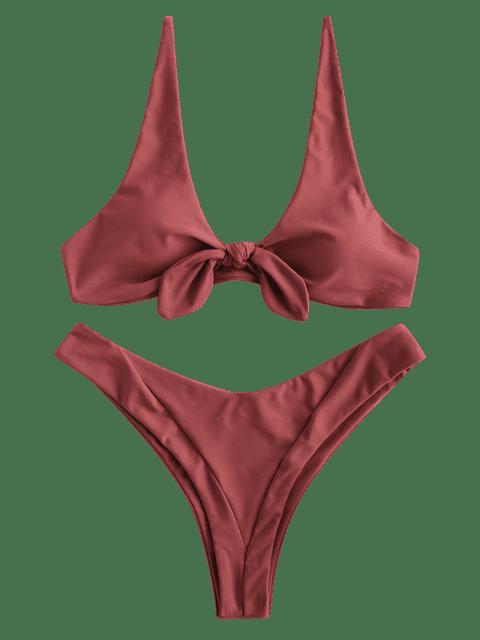 new ZAFUL Knotted High Leg Bikini Set - CHERRY RED M Mobile