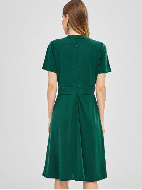 buy Keyhole Bow Tie A Line Dress - GREEN XL Mobile