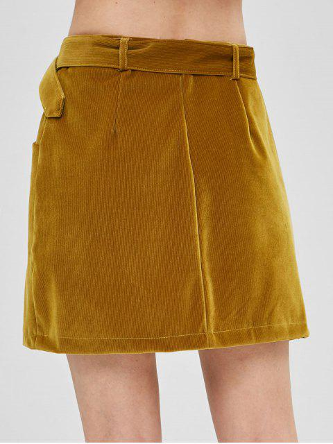 online Buttoned Pockets Corduroy Skirt - COOKIE BROWN L Mobile