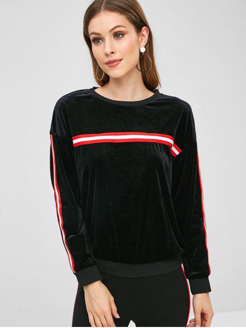 Sweat-shirt Panneau Rayé en Velours - Noir S Mobile