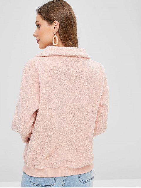 shops Heart Teddy Quarter Zip Pullover Sweatshirt - LIGHT PINK M Mobile