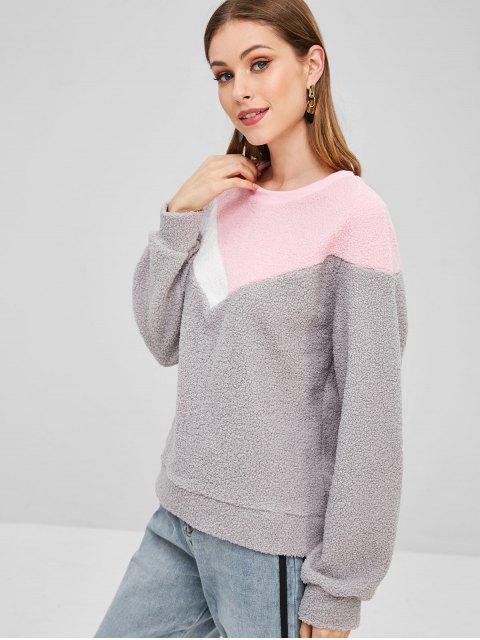 latest Casual Color Block Teddy Sweatshirt - GRAY M Mobile