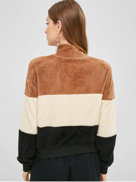 Sweat-shirt en Blocs de Couleurs à Demi-Zip - Multi L Mobile