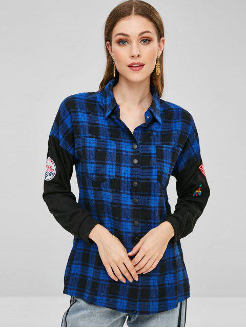 buy Snap Button Pockets Plaid Shirt - DEEP BLUE ONE SIZE Mobile