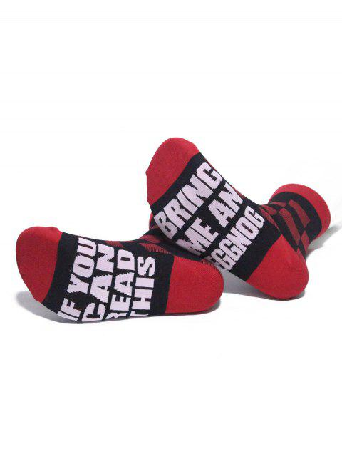 buy Letter Pattern Plaid Floor Socks - RED  Mobile