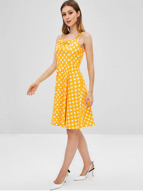 outfits Tied Strappy Polka Dot A Line Dress - YELLOW XL Mobile