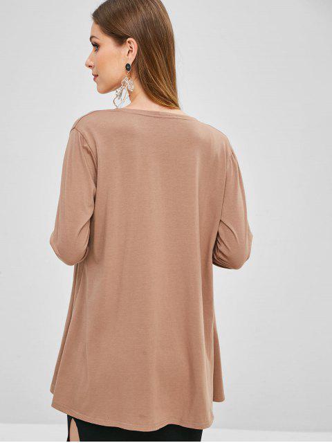 buy Plain Open Front Cardigan - CAMEL BROWN L Mobile