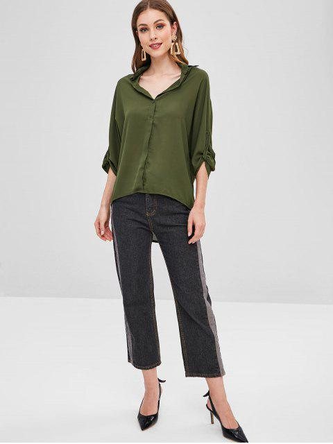 best Batwing Half Buttoned High Low Top - ARMY GREEN S Mobile