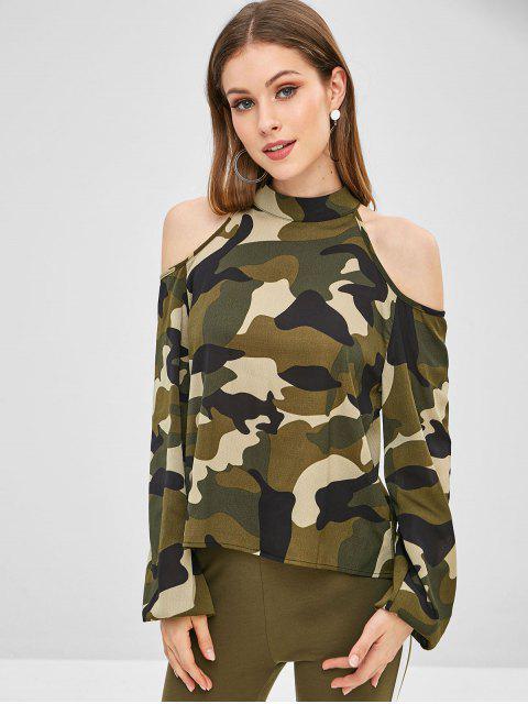 shops Camouflage Cold Shoulder Blouse - ACU CAMOUFLAGE S Mobile