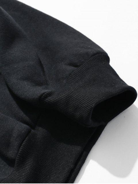 lady Printed Fleece Sweatshirt - BLACK 3XL Mobile