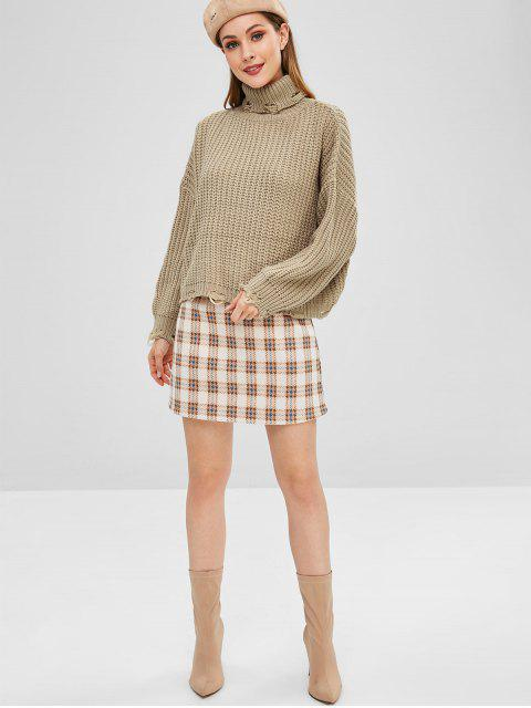 trendy Ripped Turtleneck Chunky Sweater - TAN ONE SIZE Mobile