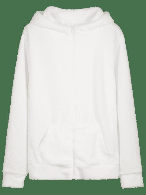 fashion Fluffy Hooded Zipper Teddy Coat - WHITE L Mobile
