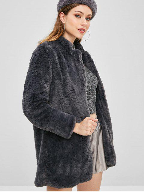 new Open Front Fluffy Teddy Coat - DARK SLATE GREY M Mobile