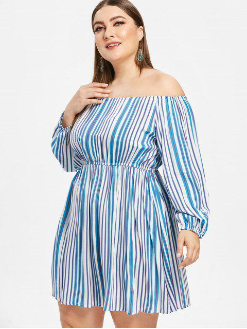 best Striped Plus Size Off Shoulder Dress - BLUE 2X Mobile