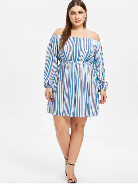 new Striped Plus Size Off Shoulder Dress - BLUE 3X Mobile