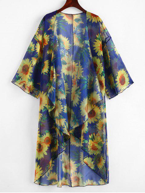 Kimono Drapeado Estampado Girasol - Azul Cobalto Talla única Mobile