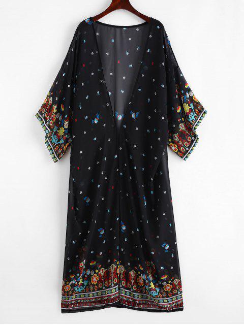 shop Printed Longline Beach Kimono - BLACK ONE SIZE Mobile