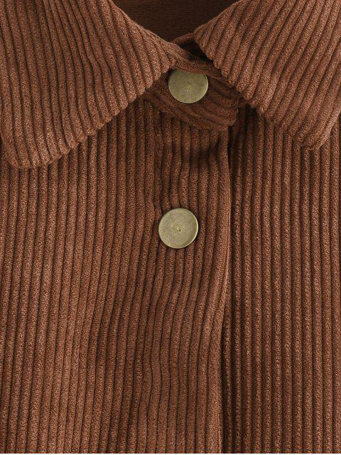 Veste en Velours Côtelé avec Poche en Avant - Brun Légère S Mobile