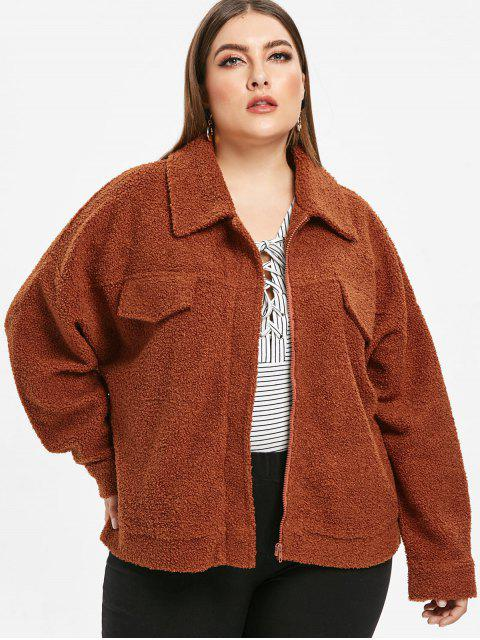 outfits Zip Plus Size Fluffy Teddy Coat - BROWN 1X Mobile