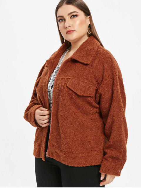 latest Zip Plus Size Fluffy Teddy Coat - BROWN 2X Mobile