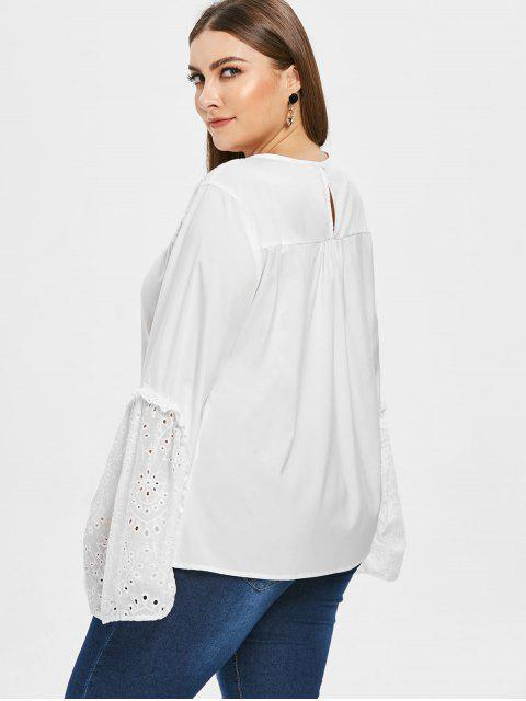 buy Flare Sleeve Plus Size Eyelet Blouse - WHITE 2X Mobile