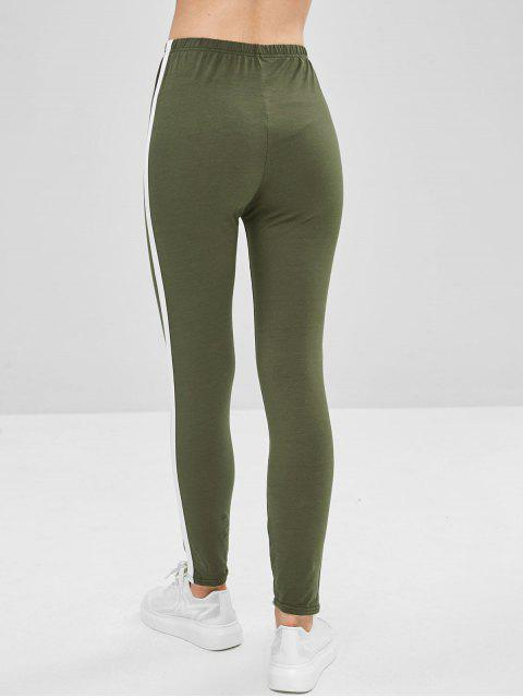 buy Stripe Trim Leggings - FERN GREEN S Mobile