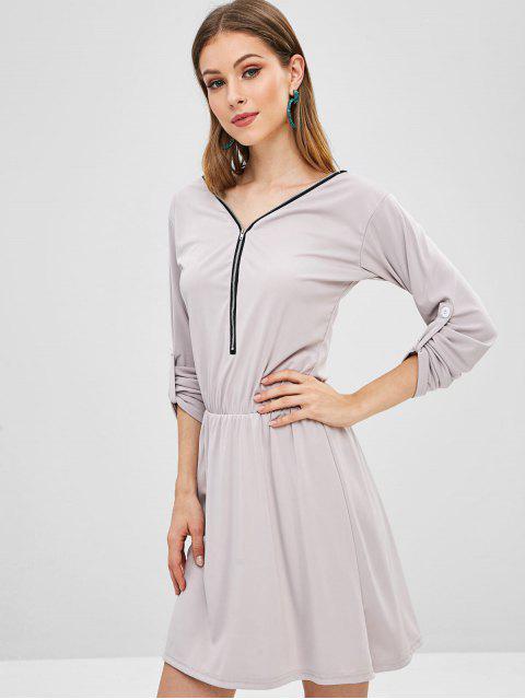 fancy Zipped A Line Mini Dress - PLATINUM L Mobile