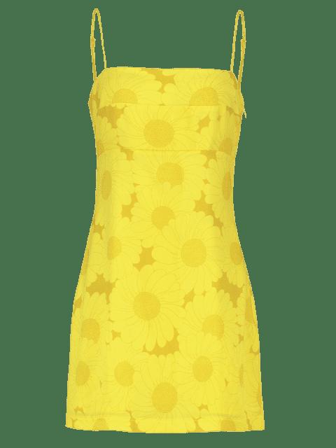 women's Floral Print Mini Cami Dress - YELLOW S Mobile
