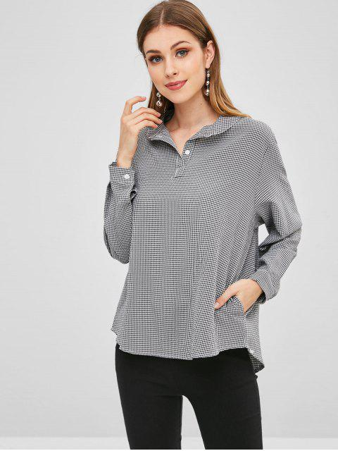 trendy Half Button Gingham Pullover Blouse - BLACK ONE SIZE Mobile