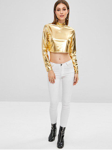 new Metallic Mock Neck Party Crop Top - GOLD S Mobile
