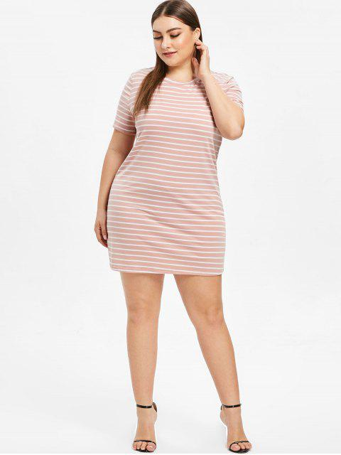 womens Plus Size Striped T-shirt Dress - PINK 1X Mobile