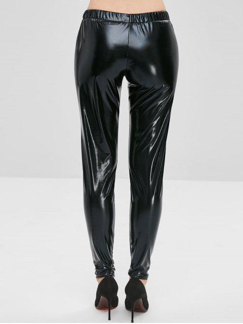 Pantalones de charol brillante - Negro M Mobile