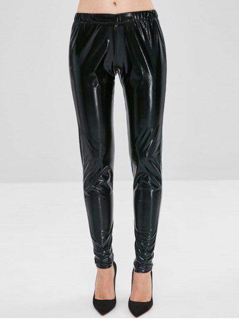 Pantalon Brillant en Cuir Verni - Noir L Mobile