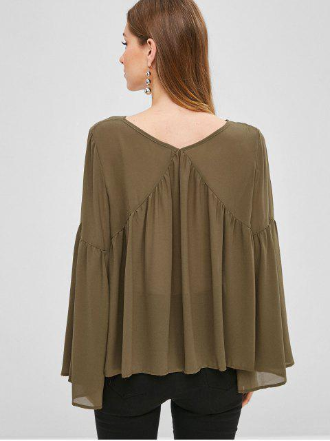 online Bell Sleeve Chiffon Blouse - FALL LEAF BROWN L Mobile