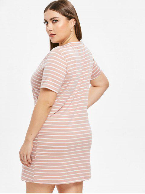ladies Plus Size Striped T-shirt Dress - PINK 3X Mobile