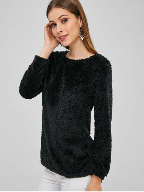 chic Plain Faux Fur High Low Sweatshirt - BLACK XL Mobile