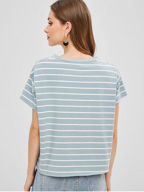 T-shirt Rayé Noué en Avant - Bleu-gris M Mobile