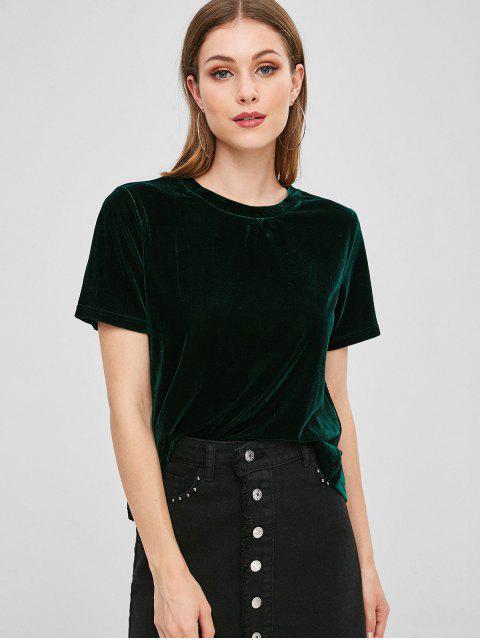 ladies Back Slit Velvet T-shirt - DARK GREEN M Mobile