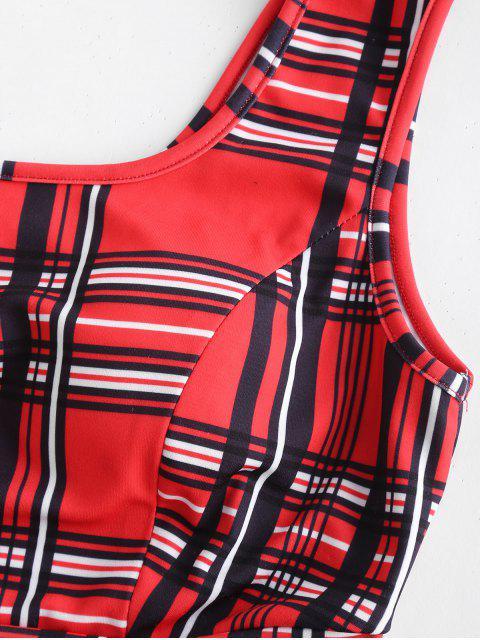 ZAFUL - Ensemble top court et jupe écossais - Rouge M Mobile